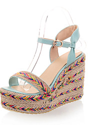 Women's Summer Wedges Leatherette Casual Wedge Heel Others / Braided Strap Black / Green / Purple