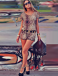 Women's Leopard Jumpsuits , Casual/Sexy Round Neck Short Sleeve