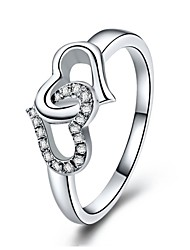 Sterling Silver Ring Heat to Heart Mounting SONA Diamond Ring for Women Engagement 18K White Gold Plated Pt950 Stamped