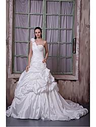 Fit & Flare Wedding Dress Chapel Train One Shoulder Taffeta