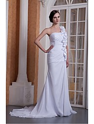 Trumpet/Mermaid Wedding Dress Court Train One Shoulder Chiffon
