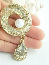 Women Accessories Gold-tone Pearl Rhinestone Crystal Brooch Art Deco Brooch Bouquet Women Jewelry
