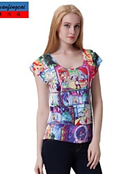 Druckt-shirt der koreanischen Art der schlanke Pullover T-Shirt Unterhemd cmfc®women Allgleiches Oberbekleidung