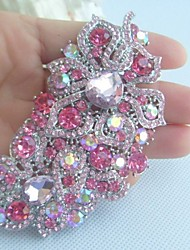 Women Accessories Silver-tone Pink Rhinestone Crystal Flower Brooch Art Deco Crystal Brooch Bouquet