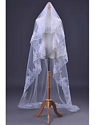 Wedding Veil One-tier Cathedral Veils Sequin Lace Applique Edge