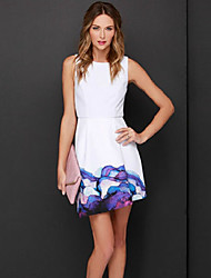Women's Casual Micro Elastic Sleeveless Above Knee Dress (Satin)
