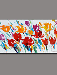 Floral/Botanical Oil Painting Hand-Painted Wall Art Other Artists Hand-Painted Oil Painting7878-1