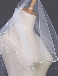 Wedding Veil Two-tier Elbow Veils Pencil Edge 23.62 in (60cm) Tulle White / Ivory