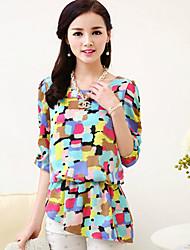 Women's Blue/Yellow Blouse ½ Length Sleeve