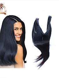 remy virginal brasileña del pelo humano del tirón en el pelo de las extensiones # 1B del color negro natural extensiones de cabello de