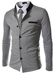 Johnny Men's Stand Suits & Blazers , Cotton Blend Long Sleeve Casual Button Fall