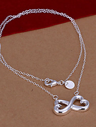 Sweet Butterfly Shape Silver Plated Number 8 Pendant Rolo Necklace(White)(1Pc)