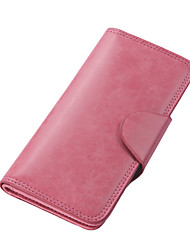 Women's PU Leather Snap Closure Long Wallet