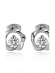 T&C Women's Concise Style Clear Austrian Crystal Flower Stud Earrings Fashion Stellux Cubic Zirconia Jewelry
