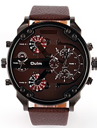 Men's Sport Watch Military Watch Fashion Watch Wrist watch Dual Time Zones Quartz Genuine Leather Band Vintage Casual Multi-Colored