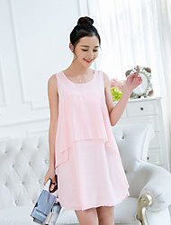 Maternity Sweet Solid Color Stitching Sleeveless Dress
