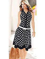 Women's Dresses New Fashion Print Dot Without Belt American Country Style Casual Dresses High Street Sleeveless