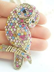 Women Accessories Gold-tone Multicolor Rhinestone Crystal Brooch Art Deco Bird Owl Brooch Women Jewelry