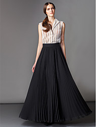 Homecoming TS Couture Formal Evening Dress - Multi-color A-line V-neck Floor-length Lace