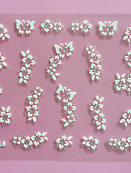 3D White Flowers Pattern Wedding Nail Art Sticker XF-018