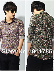 new fashion Floral hit-color men's long-sleeved shirts, casual slim cotton shirts,freeshipping by China Post Air Mail.M-XXL,h08