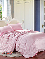 Nordicas Pink Striped Duvet Cover Sets Microfiber Fabric