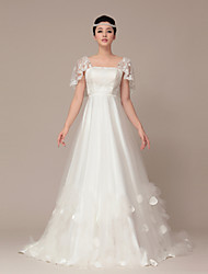 A-line Sweep/Brush Train Wedding Dress -Square Tulle