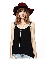 Women's Solid Black Blouse , Strap Sleeveless Backless