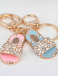 Cute Slippers Rhinestone Keychain
