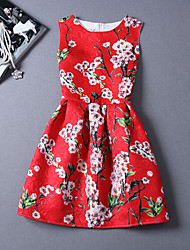 Women's Casual/Daily Beach Holiday Vintage A Line Dress,Floral Round Neck Knee-length Sleeveless Cotton Polyester Summer High Rise