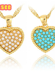 Fashion 18K Golden Plated  Heart Shape with Imitation Pearl Pendant Necklace