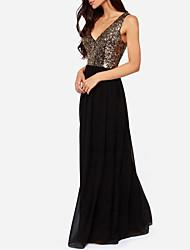 Women's Sexy/Beach/Casual/Party V Neck Halter Sequin Maxi Dress