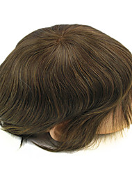 Dark Brown Mens Toupee Hair Replacement French Lace PU All Around Base Size Adjustable #3 Color