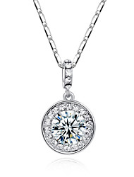Noble 18k White Gold Plated with Rhinestones Surrounded Clear Crystal Round Pendant Necklaces