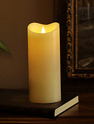 SIMPLUX™ 3.75*9 inch Moving Wick Flameless Real Wax LED Pillar Candle Light With Timer,Battery-Operated,Ivory