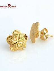 WesternRain Women New Flower shape charm Coming 24K Gold Stud Earrings Fashion Cheap Lovely Gold Plated Earrings