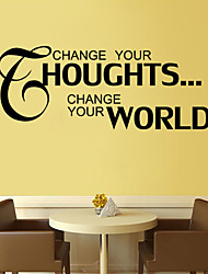 Stickers muraux stickers muraux, changer vos pensées proverbes anglais muraux PVC autocollants
