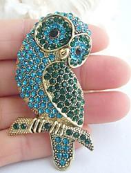 Women Accessories Gold-tone Turquoise Green Rhinestone Crystal Brooch Art Deco Bird Owl Brooch Women Jewelry