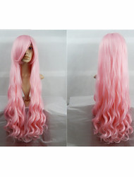 Hot Sale 40 Inches High Temperature Fiber Long Curly Peach Pink Cosplay Costume Wig Side Bang