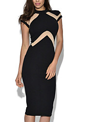 Women's Nude Illusion Insert High Neck Midi Dress