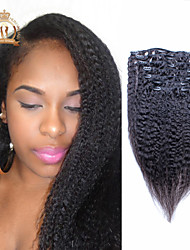 "reina 10 soleado ""-20"" pinza de pelo humano en extensiones de cabello rizado pelo virginal brasileño rectas humanos 7pcs del pelo 120g"