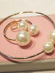 Women Vintage Alloy/Imitation Pearl Bracelets/Rings Sets