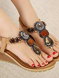 Women's Shoes Black/Almond Wedge Heel 3-6cm Sandals (PU)