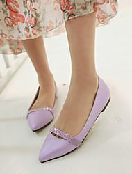 Zapatos de mujer - Tacón Bajo - Puntiagudos - Planos - Oficina y Trabajo / Vestido / Casual - Semicuero - Negro / Rosa / Morado / Beige