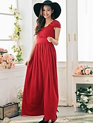 Women's Vintage / Beach / Casual / Party Solid Swing / Two Piece Dress , V Neck Maxi Lace / Mesh / Elastic