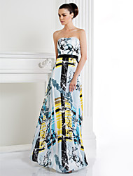 TS Couture Formal Evening Dress - Print A-line Strapless Floor-length Satin Chiffon