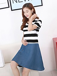 Maternity and Nursing Clothing Striped Cotton Jeans Breast Feeding Dress