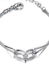 Ladies' Silver Chain Heart Bracelet with Cubic Zirconia