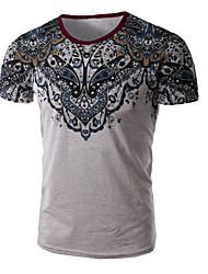 Herren T-shirt-Druck Freizeit / Büro / Übergröße Baumwolle / Polyester Kurz-Blau / Weiß