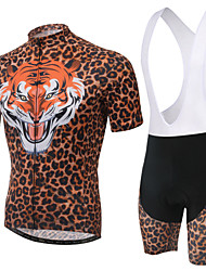 Unisex Cycling Jersey Suits with Short Suspender,Short Sleeve ,3D Pad,Tiger Digital Print,Coolmax,Skinny,